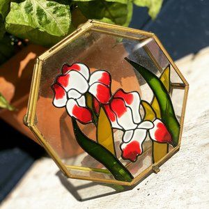 Vintage Floral Stained Glass Brass Trinket Box